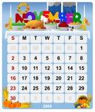 Maandelijkse kalender - 2 November Vector Illustratie