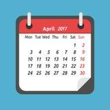 Maandelijkse kalender, April 2017 Vector Illustratie