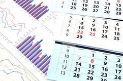 Maandelijkse kalender en grafieken Royalty-vrije Stock Foto