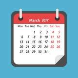 Maandelijkse kalender, Maart 2017 Royalty-vrije Illustratie