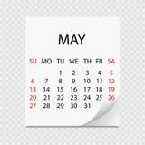 Maandelijkse kalender 2018 met paginakrul Afscheuringskalender voor Mei Witte achtergrond Vector illustratie Stock Foto