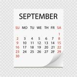 Maandelijkse kalender 2018 met paginakrul Afscheuringskalender voor September Witte achtergrond Royalty-vrije Stock Foto's