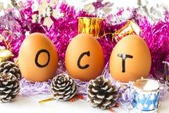 Maandelijkse kalender - Oktober Royalty-vrije Stock Foto's