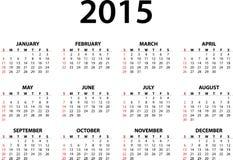 Maandelijkse kalender voor 2015 Royalty-vrije Stock Afbeelding