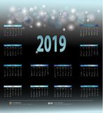 Maandelijkse Kalender voor het jaar 2019 voor de muurkalender, strikte bedrijfsstijl royalty-vrije stock afbeeldingen