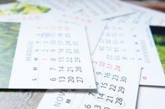 Maandelijkse kalenders Royalty-vrije Stock Foto's