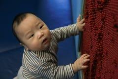 7 maanden aanbiddelijke Aziatische baby die alleen spelen royalty-vrije stock afbeelding