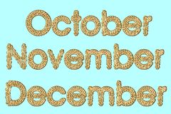 Maanden van 4de trimester van jaar vector illustratie