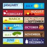 Maanden van de reeks van de jaarbanner Stock Afbeelding