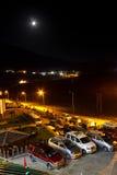 Maanlicht, de scène van de stadsnacht stock afbeeldingen