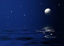 Maanlicht op zee Stock Foto's