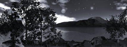 Maanlicht over het panoramische water, Royalty-vrije Stock Afbeelding
