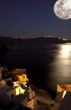 Maanlicht in santorini Royalty-vrije Stock Fotografie