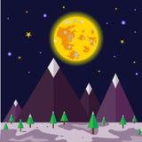 Maanlichtnacht en aard landschap-vector Stock Fotografie