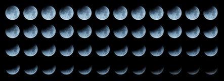 Maanopeenvolging: vorderende totale maanverduistering Royalty-vrije Stock Afbeelding