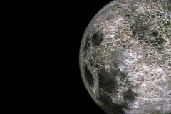 Maanoppervlakte en texturen met kraters op zwarte achtergrond met exemplaarruimte die wordt geïsoleerd stock illustratie