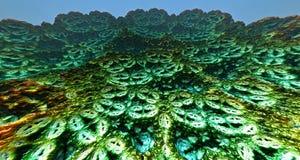 Maanoppervlakte of vreemde planeet met kraters het 3d teruggeven royalty-vrije illustratie