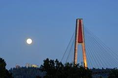 Maanstijging en skytrain brug bij blauw uur Royalty-vrije Stock Afbeelding