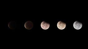 Maanverduistering, de maan met duisternishemel in Thailand 2015 Stock Afbeeldingen