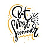 Maar de eerste zomer hand het getrokken vector van letters voorzien Ge?soleerdj op witte achtergrond vector illustratie