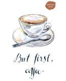Maar eerst, koffie Stock Foto