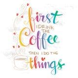Maar eerste koffie royalty-vrije illustratie