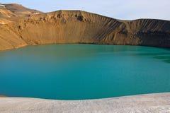 Maar (kratersjö) i Island Royaltyfria Foton