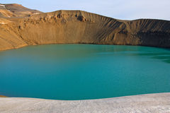 Maar (lago del cratere) in Islanda Fotografie Stock Libere da Diritti