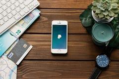3,2018 maart: Apple-smartphone met PayPay-betaling app Vlak leg met houten lijstachtergrond Succulente installatie, horloge, blad Royalty-vrije Stock Foto's