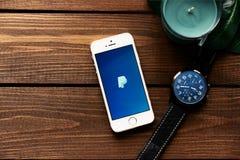 3,2018 maart: Apple-smartphone met PayPay-betaling app Vlak leg met houten lijstachtergrond Succulente installatie, horloge, blad Stock Afbeelding