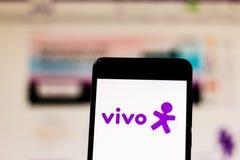 10 maart, 2019, Brazilië Het merkembleem van 'vivo 'op het mobiele apparatenscherm Het is een concessionaris van vaste telefonie, royalty-vrije stock afbeeldingen