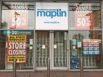 26 maart, 2018, Cork, Ierland - Maplin-de opslag in het Kleinhandelspark van Blackpool sluit Royalty-vrije Stock Fotografie