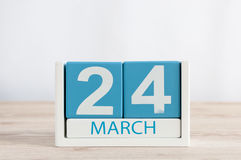 24 maart Dag 24 van maand, dagelijkse kalender op houten lijstachtergrond De lentetijd, lege ruimte voor tekst Royalty-vrije Stock Foto