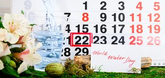 22 maart de Dag van het Wereldwater op de kalender Stock Afbeelding