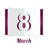 8 Maart-de Dagdocument van Vrouwen giftvakje op wit Stock Fotografie