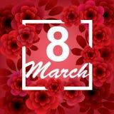 8 Maart De gelukkige kaart van de Vrouwen` s Dag met bloemen stock illustratie