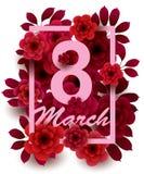 8 Maart De gelukkige kaart van de Vrouwen` s Dag met bloemen vector illustratie
