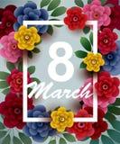 8 Maart De gelukkige kaart van de Vrouwen` s Dag met bloemen en kader Royalty-vrije Stock Afbeelding