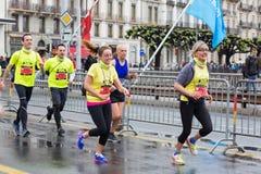 Maart, 3de 2015 harmoniemarathon in Genève zwitserland Stock Foto