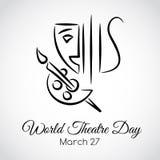 27 Maart De kaart van de de daggroet van het wereldtheater vector illustratie