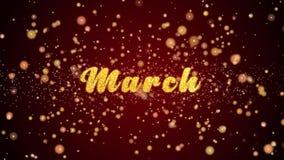 Maart-de tekst glanzende deeltjes van de Groetkaart voor viering, festival vector illustratie
