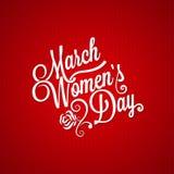 8 maart-de uitstekende van letters voorziende achtergrond van de vrouwendag Stock Afbeelding