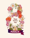 8 maart-gelukwenskaart De Dag van de gelukkige Vrouw! Royalty-vrije Stock Fotografie