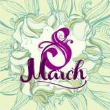 8 Maart-groetkaart Stock Afbeelding