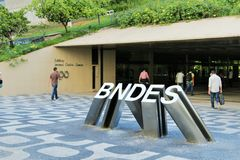25 maart, 2015 het hoofdkwartier - van BNDES (de genationaliseerde bank van Brazils van ontwikkeling) in Rio de Janeiro Stock Foto