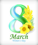 8 Maart-het malplaatje van de de groetkaart van de Vrouwen` s Dag Verbazende figuur acht Vector Stock Afbeelding