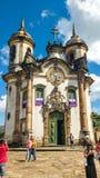 25 maart, 2016, Historische stad van Ouro Preto, Minas Gerais, Brazilië, voorgevel van de Kerk van Onze Dame van Carmo Stock Foto's