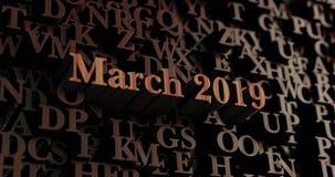Maart 2019 - Houten 3D teruggegeven brieven/bericht Stock Foto