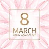 8 Maart Internationale Gelukkige Vrouwen` s Dag Bloemen groetkaart royalty-vrije illustratie
