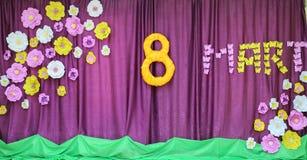 8 maart Internationale Gelukkige Vrouwen` s Dag De vrouwelijke dag van de conceptenvakantie Gelukkige vrouwen ` s dag 8 Maart Vri Royalty-vrije Stock Foto